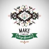 Colorful tribal Navajo style vector ornamental geometric logo set Royalty Free Stock Photo