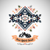 Colorful tribal Navajo style vector ornamental geometric logo set Stock Photography