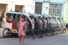 Colorful tricycles or bici-taxis in Camaguey,Cuba Stock Images