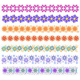 Colorful trim or border collection. With flowers and dots Royalty Free Stock Image