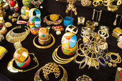 Colorful trinkets. An assortment of colorful trinkets on a market stall stock photos