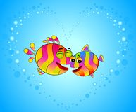 Colorful tropical fish in love. For the day of Valentine Stock Photo
