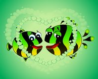 Colorful tropical fish in love. For the day of Valentine Stock Images