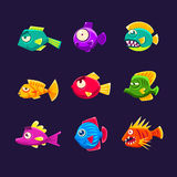 Colorful Tropical Fish Set Royalty Free Stock Photos