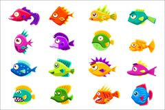 Colorful Tropical Fish Set Royalty Free Stock Photo