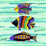 Colorful tropical fish swimming in the sea. Vector background with  Colorful tropical fish swimming in the sea. Vector illustration Stock Image