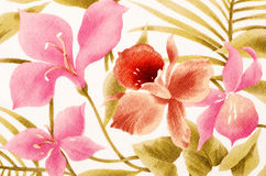 Colorful tropical floral pattern on fabric. Stock Image