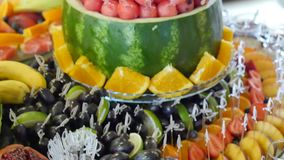Colorful Tropical Fruit Buffet stock video footage