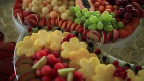 Colorful Tropical Fruit Buffet. On celebrate stock video
