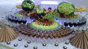 Colorful Tropical Fruit Buffet with drinks. Colorful Tropical Fruit Buffet on celebrate stock video