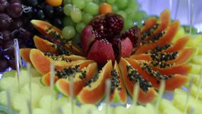 Colorful Tropical Fruit Buffet with drinks. Colorful Tropical Fruit Buffet on celebrate stock video footage