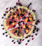 Colorful tropical fruit watermelon pizza Stock Photo