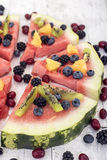 Colorful tropical fruit watermelon pizza Royalty Free Stock Photography