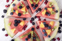 Colorful tropical fruit watermelon pizza Royalty Free Stock Images