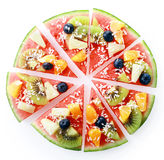 Colorful tropical fruit watermelon pizza Stock Photography