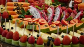 Colorful Tropical Fruit wedding Buffet stock footage