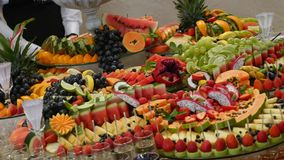 Colorful tropical fruit wedding buffet stock video footage