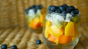 Colorful tropical mix salad in jar. Fresh various kind of raw organic berry and fruit in glass bowl. Healthy vegetarian. Eating, balanced, vegan diet. Rustic stock footage