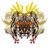 Colorful tropical motives. Grunge abstract butterfly formed by jaguars with eagle wings and cock legs with blood drops and color splashes Stock Photo
