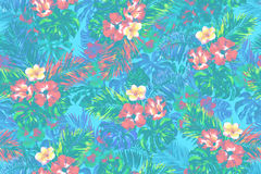 Colorful tropical pattern seamless background.. Floral pattern seamless. Green pastel leaves and flowers background. Watercolor painting illustration and design Stock Images