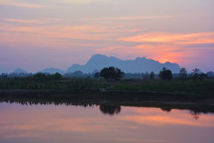 Colorful tropical sunset over Salween river Hpa-An, Myanmar Stock Photography