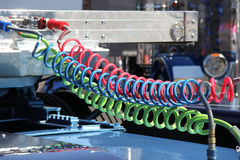 Colorful Truck Air Lines. Semi-Truck line attachments from cab to trailer in new colorful options Stock Photos