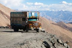 Colorful truck brand TATA in Indian Himalayas Stock Images