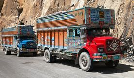 Colorful truck in Indian Himalayas Stock Images