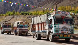 Colorful trucks brand TATA in Indian Himalayas Royalty Free Stock Photos