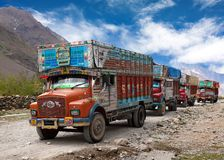 Colorful trucks brand TATA in Indian Himalayas Royalty Free Stock Images