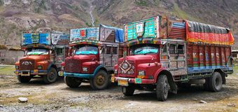 Colorful trucks brand TATA in Indian Himalayas Stock Photos