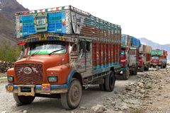 Colorful trucks brand TATA in Indian Himalayas Stock Image