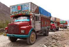 Colorful trucks brand TATA in Indian Himalayas Stock Photo