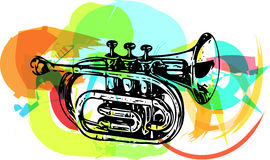 Colorful trumpet illustration Royalty Free Stock Images