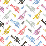 Colorful trumpet seamless pattern. Musical instruments Stock Photography