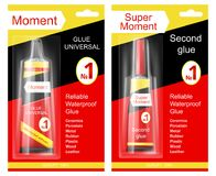 Super moment and moment glue. Colorful tube of super moment and moment glue in cardboard and plastic packaging with brand information realistic vector isolated stock illustration