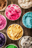 Colorful tubs of Italian ice cream Royalty Free Stock Image