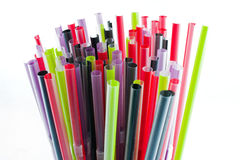 Colorful tubules for a cocktail. Colorful drinking straws on white Stock Photo