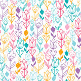 Colorful tulip flowers seamless pattern background. Vector colorful Dutch tulip flowers elegant seamless pattern background with hand drawn Dutch floral motives royalty free illustration