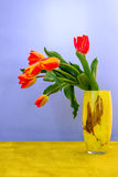 Colorful tulip on green table Stock Photography