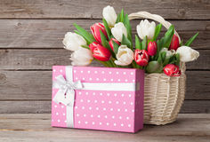 Colorful tulips bouquet and gift box Stock Photo