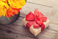 Colorful tulips bouquet and gift box Stock Photos