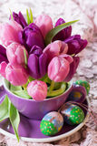 Colorful tulips with easter eggs Stock Image