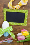 Colorful tulips and easter eggs Royalty Free Stock Image
