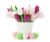Colorful tulips and easter eggs Stock Images