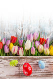 Colorful tulips with easter eggs on wooden table. Stock Photo
