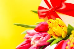 Colorful tulips flowers with decorartive giftbox on yellow background with free space. Mothersday or spring concept. Clos e up ima. Ge Stock Photography