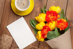 Colorful tulips, greeting card and coffee Royalty Free Stock Image