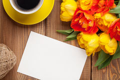 Colorful tulips, greeting card and coffee Stock Image