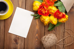 Colorful tulips, greeting card and coffee cup Royalty Free Stock Images